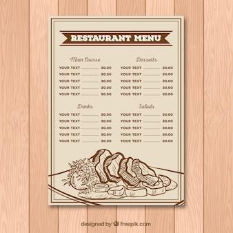 Menu de restaurante em estilo retro com desenhos