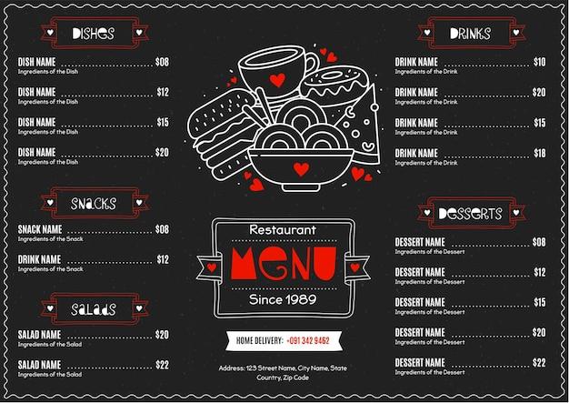 Menu de restaurante horizontal digital delicioso
