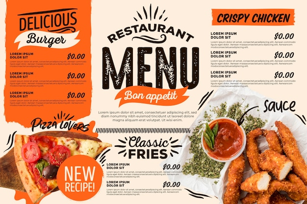 Menu de restaurante horizontal digital delicioso Vetor grátis