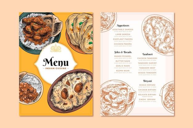 Menu de restaurante indiano oriental com gravura desenhada à mão