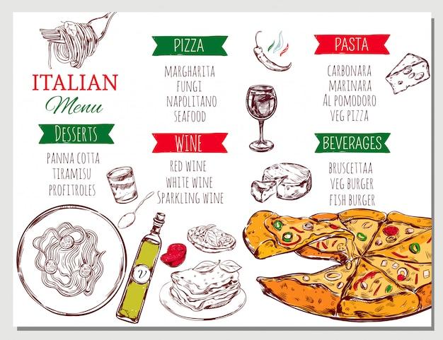 Menu de restaurante italiano