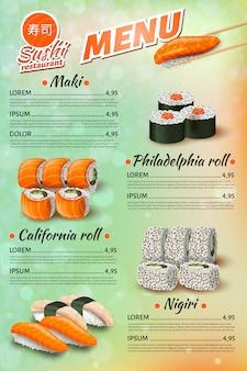 Menu de restaurante japonês, sushi, lista de preços de rolos