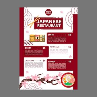 Menu de restaurante japonês