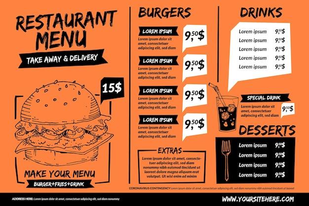 Menu de restaurante laranja para plataforma digital em formato horizontal