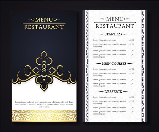 Menu de restaurante luxuoso com elegante estilo ornamental