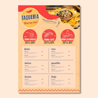 Menu de restaurante mexicano