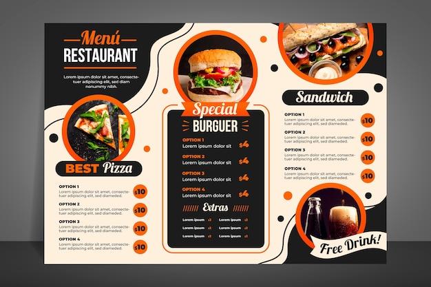 Menu de restaurante moderno para hambúrgueres