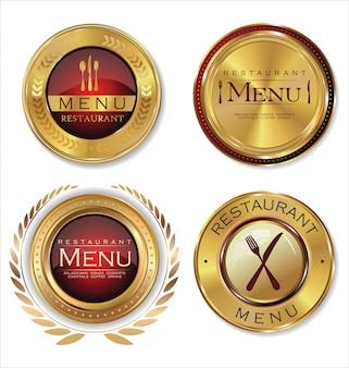 Menu de restaurante rótulos dourados
