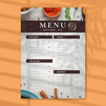 Menu de restaurante rústico com gravura
