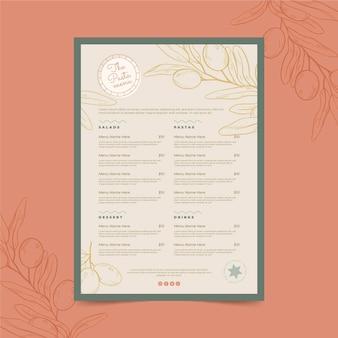 Menu de restaurante rústico desenhado à mão com gravura
