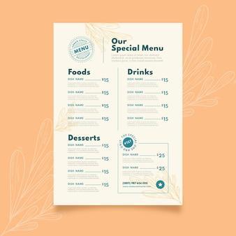 Menu de restaurante rústico plano orgânico