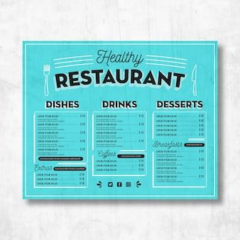 Menu de restaurante saudável com fundo azul