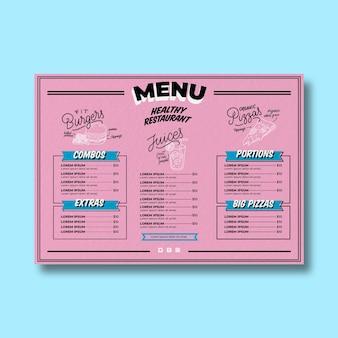 Menu de restaurante saudável com fundo rosa