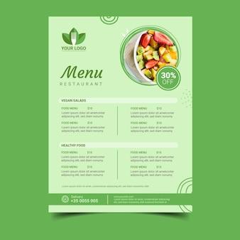Menu de restaurante saudável