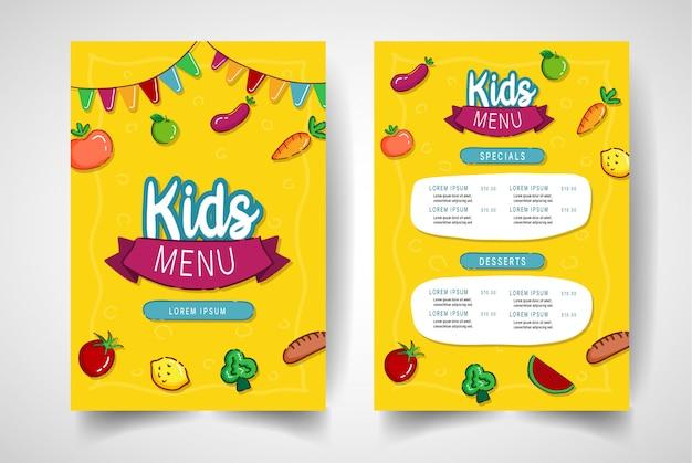 Menu de restaurante vegetal colorido para crianças.