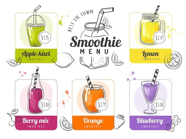 Menu de smoothie. listas de coquetéis de verão para restaurante ou menu de bebidas com café frutas alimentos líquidos