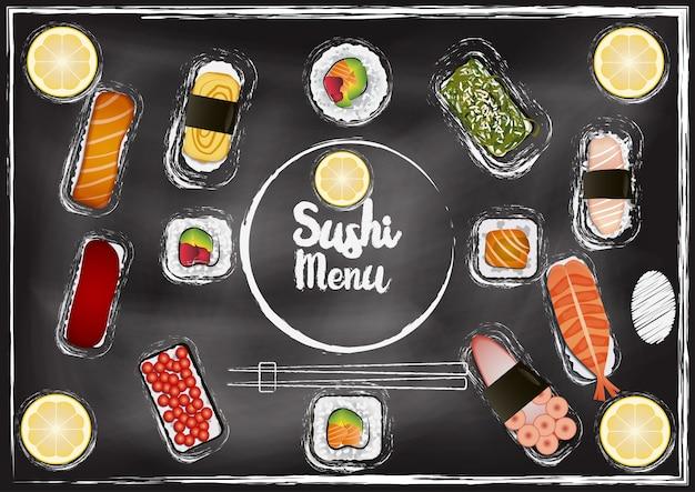 Menu de sushi com fundo de quadro de giz
