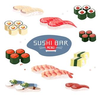 Menu de sushi, sushi bar, culinária japonesa ou restaurante asiático design de modelo de menu de restaurante e café