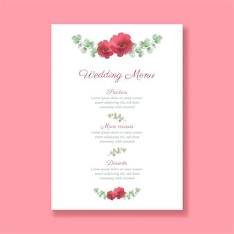 Menu decorativo de casamento com desenho floral pintado à mão