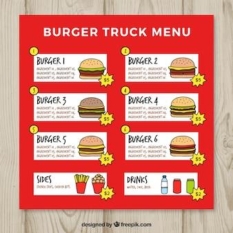 Menu desenhado à mão do caminhão do alimento do hamburguer