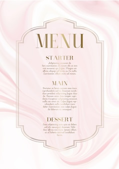 Menu design com design elegante de mármore rosa