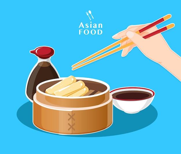 Menu dim sum, comida asiática