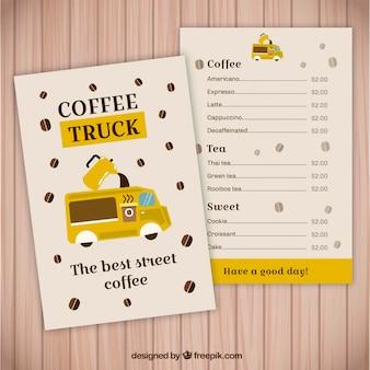 Menu divertido do caminhão de café
