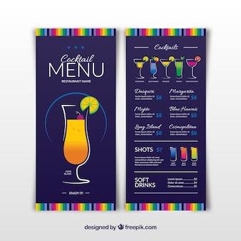 Menu do bar de cocktails em estilo plano
