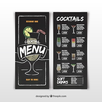 Menu do bar de cocktails em estilo quadro-negro