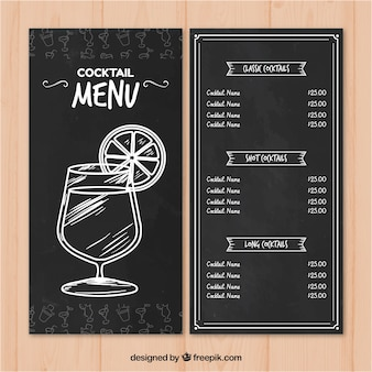 Menu do bar de cocktails em estilo quadro-negro