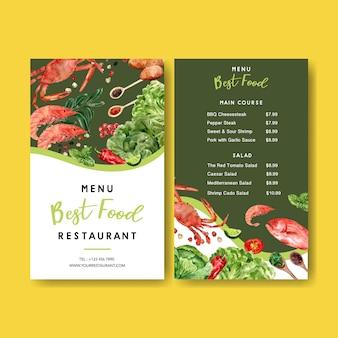 Menu do dia mundial da comida com caranguejo, camarão com ilustrações em aquarela de vegetais.