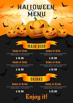 Menu do festival de halloween