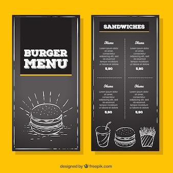 Menu do hamburguer do vintage no estilo do quadro-negro