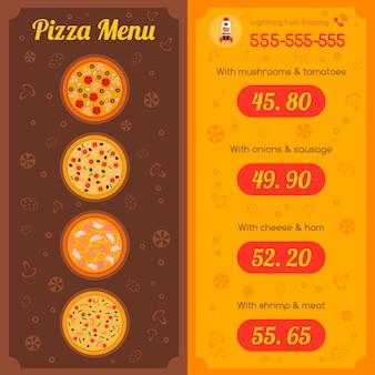 Menu do restaurante da pizza