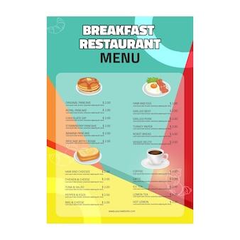 Menu do restaurante de café da manhã