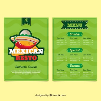 Menu do restaurante mexicano