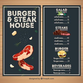 Menu do restaurante steakhouse