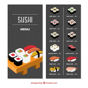 Menu do restaurante, sushi