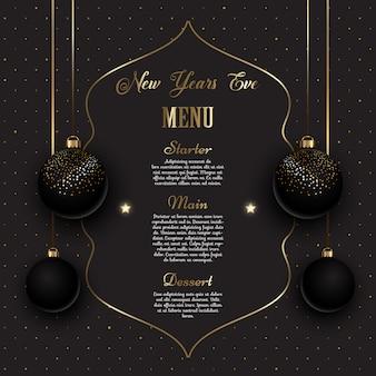 Menu dourado e preto da véspera de ano novo