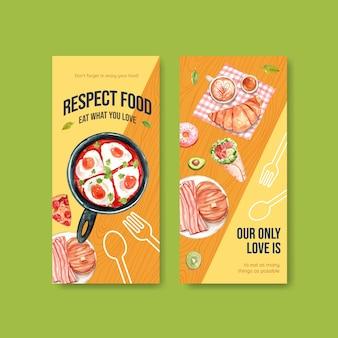 Menu e flyer com design de conceito do dia mundial da comida para restaurante e folheto em aquarela