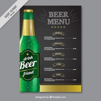 Menu elegante com uma garrafa de cerveja