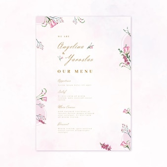 Menu floral de restaurante de casamento