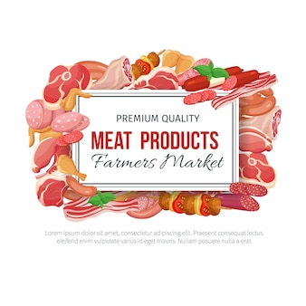 Menu gastronômico de produtos à base de carne.