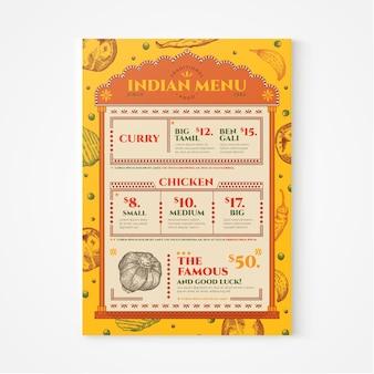 Menu indiano de gravura desenhada à mão