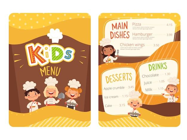 Menu infantil. crianças cozinhar comida pequeno chef restaurante comendo menu para o modelo de desenho animado de pequenos povos felizes.