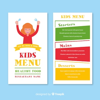 Menu infantil de restaurante
