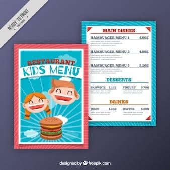 Menu infantil plano com hambúrguer e sorridente crianças
