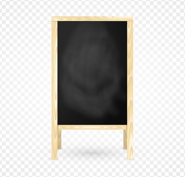 Menu isolado do quadro-negro em branco do quadro de madeira.
