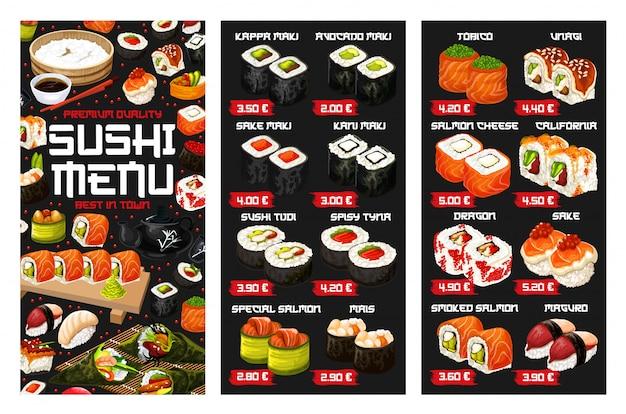 Menu japonês de rolo de sushi, nigiri e temaki