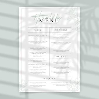Menu minimalista do restaurante de comida saudável